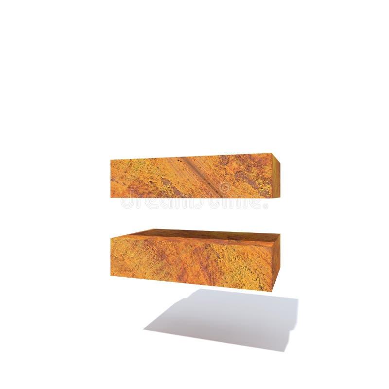 Fonte ou tipo oxidado velho do metal, ferro ou indústria de aço ilustração do vetor