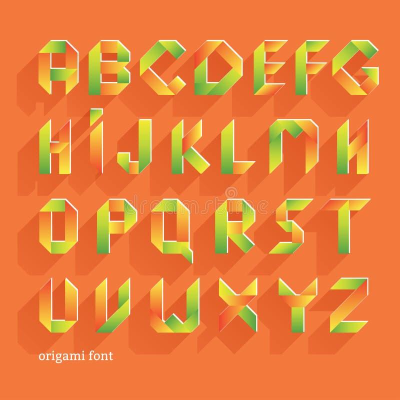 Fonte piana arancio di origami Insieme di alfabeto di vettore Lettere latine illustrazione di stock
