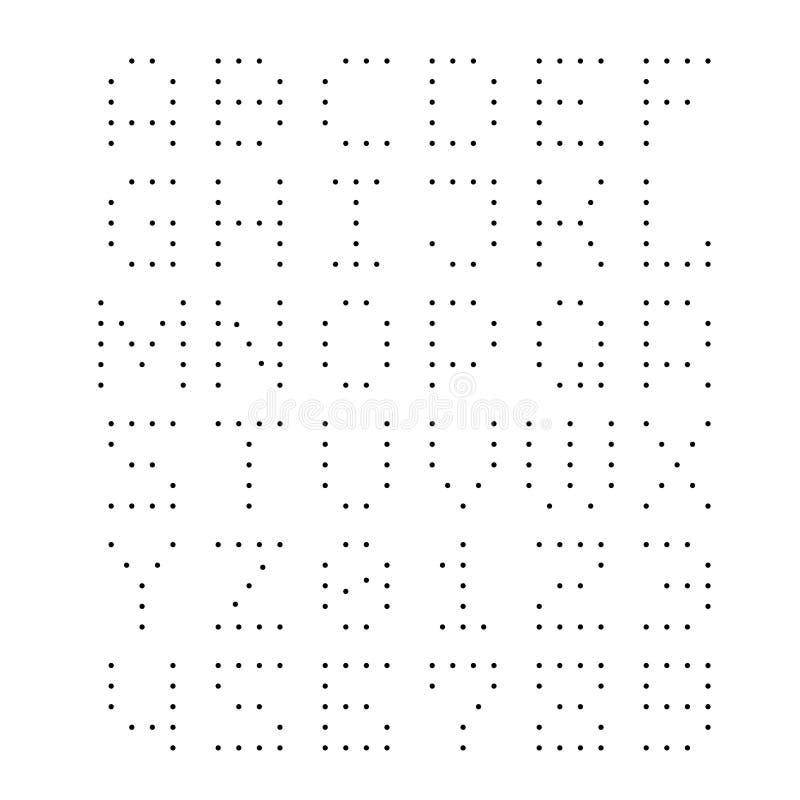 fonte pontilhada Letras com pontos pequenos ilustração stock