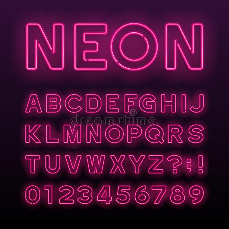 Fonte porpora di alfabeto del tubo al neon Lettere, numeri e simboli al neon di colore royalty illustrazione gratis