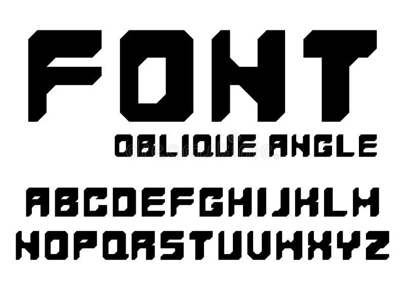 Fonte preta com ângulos oblíquos Alfabeto inglês isolado no fundo branco imagem de stock royalty free