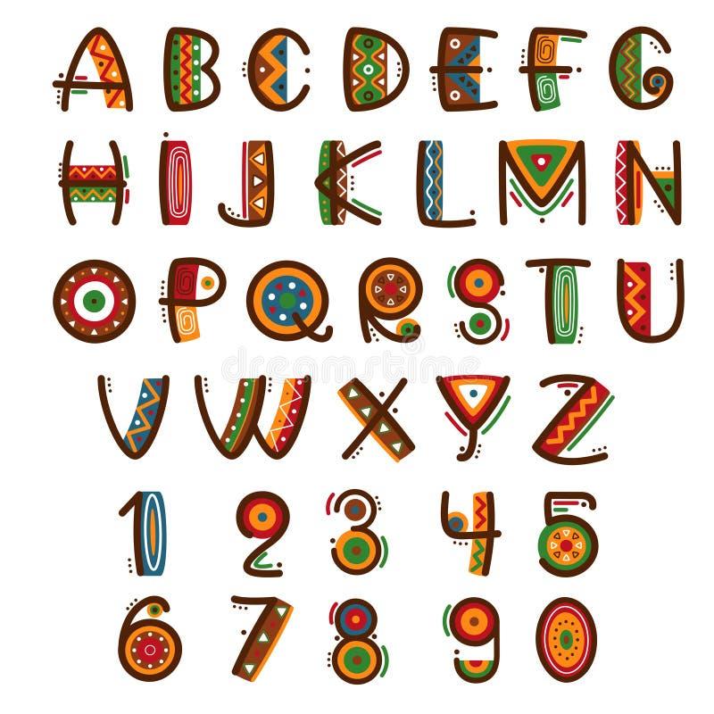 Fonte primitiva etnica africana Brillantemente alfabeto disegnato a mano di vettore di safari illustrazione vettoriale