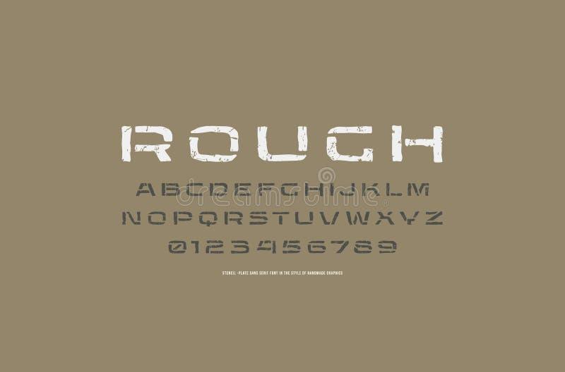 Fonte prolongada de Sans Serif da estêncil-placa ao estilo de feito a mão ilustração stock