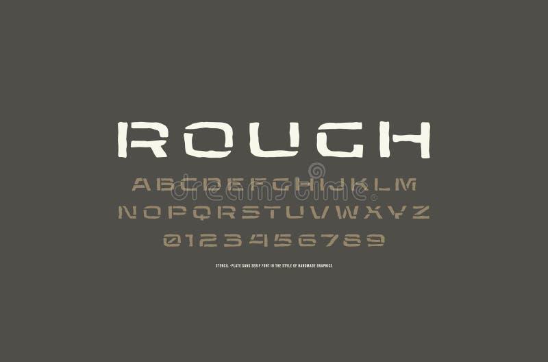 Fonte prolongada de Sans Serif da estêncil-placa ao estilo de feito a mão ilustração royalty free