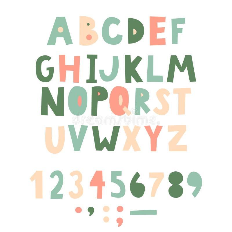 Fonte puerile scritta a mano audace Lettere semplici per la decorazione Progettazione dei bambini illustrazione vettoriale