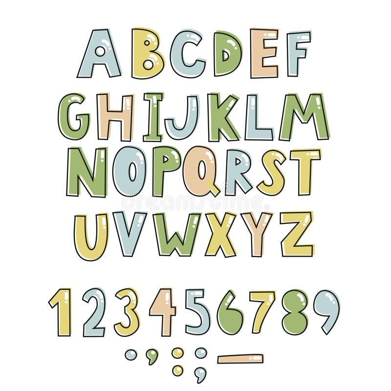 Fonte puerile scritta a mano audace Lettere variopinte semplici per la decorazione Progettazione dei bambini royalty illustrazione gratis