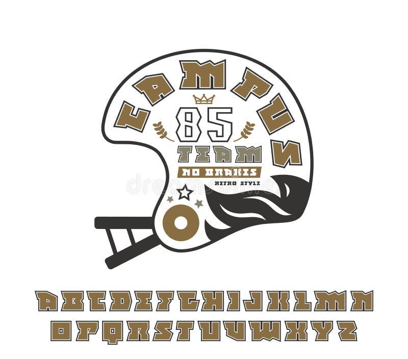 Fonte quadrada do serif com o emblema do contorno e do rugby ilustração do vetor