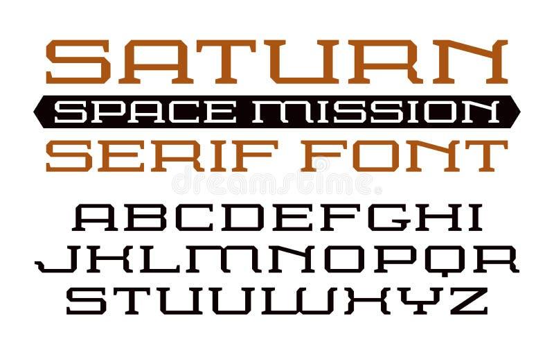 Fonte quadrada do serif no estilo do computador ilustração royalty free