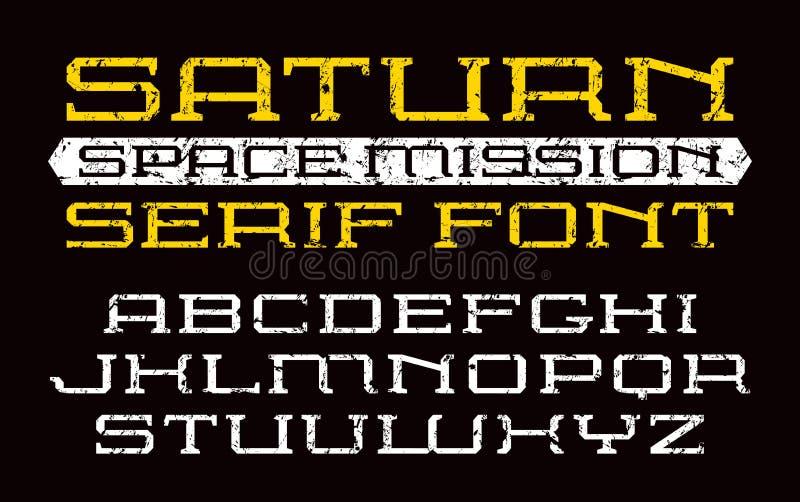 Fonte quadrada do serif no estilo do computador ilustração stock