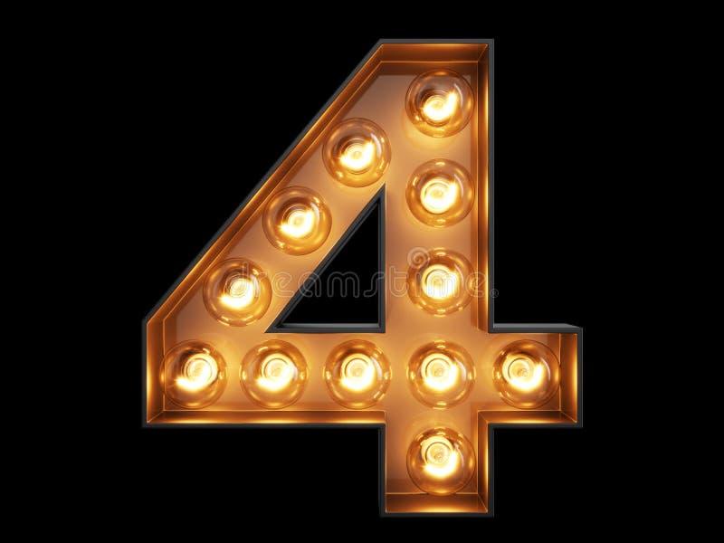 Fonte quattro del carattere 4 di alfabeto della cifra della lampadina illustrazione di stock