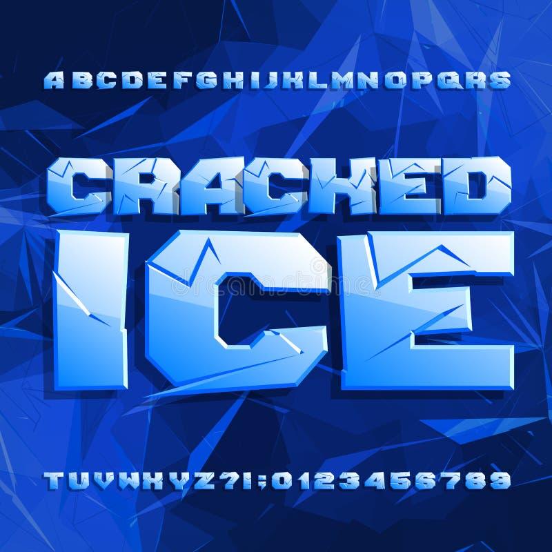 Fonte rachada do alfabeto do gelo Letras e números congelados no fundo poligonal ilustração stock