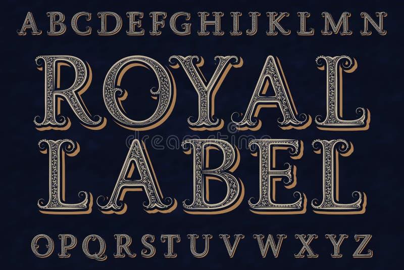 Fonte real da etiqueta Alfabeto inglês isolado ilustração stock
