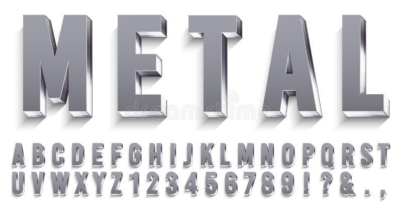 Fonte realistica del metallo Lettere metalliche brillanti con le ombre, il testo del cromo e l'insieme di vettore di alfabeto 3D  royalty illustrazione gratis