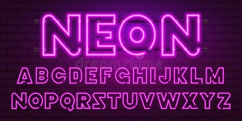 fonte retro de néon roxa de 80 s Letras futuristas do cromo Alfabeto brilhante no fundo escuro Sinal claro dos símbolos para a no ilustração royalty free