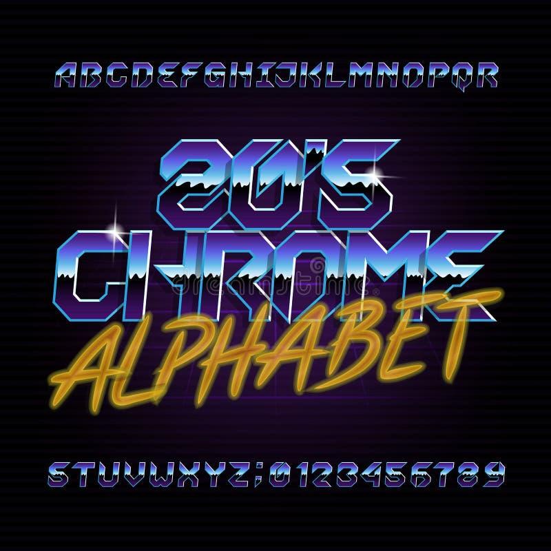 fonte retro do alfabeto do cromo 80s Letras brilhantes, números e símbolos do efeito metálico ilustração do vetor