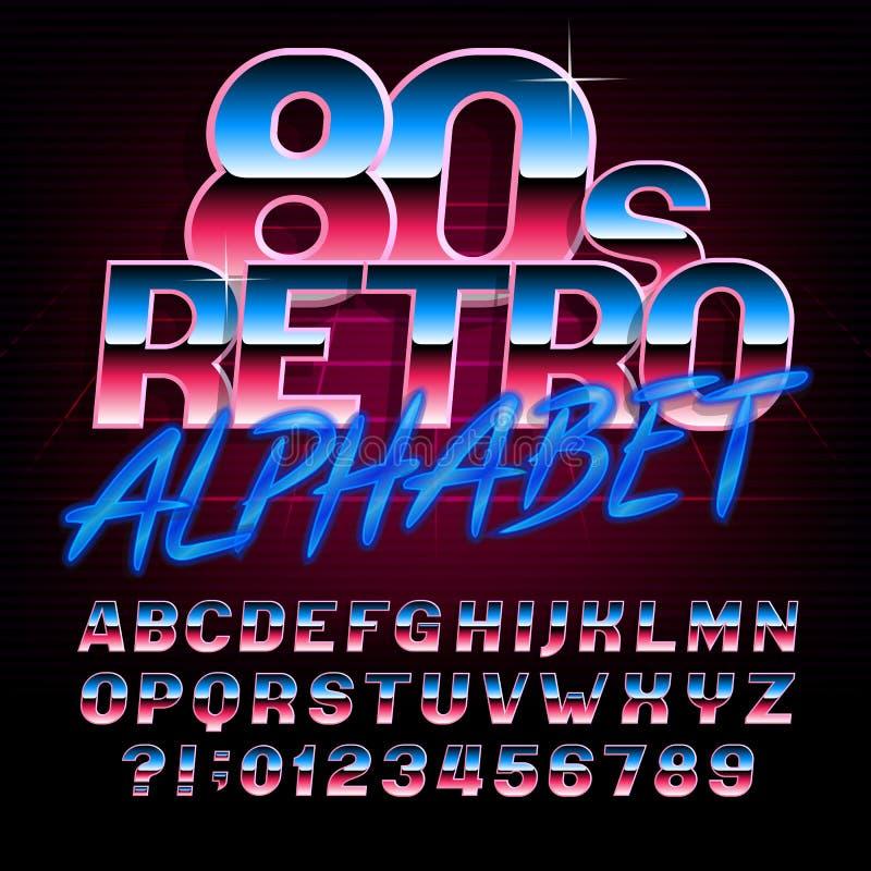 fonte retro do alfabeto de 80 ` s Tipo brilhante letras e números do efeito metálico ilustração do vetor
