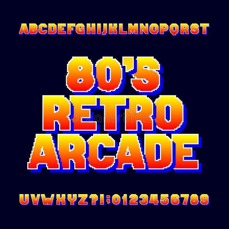 Fonte retro do alfabeto do pixel Letras e números video do jogo de computador ilustração do vetor