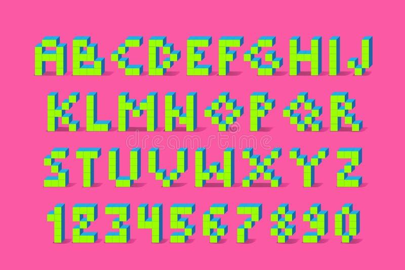 Fonte retro do jogo de vídeo do pixel fonte retro do alfabeto de 80 s ilustração royalty free
