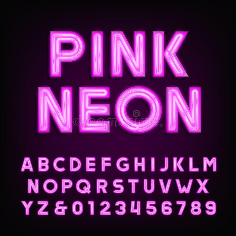 Fonte rosa di alfabeto del tubo al neon Scriva le lettere ed i numeri a macchina su un fondo scuro illustrazione di stock