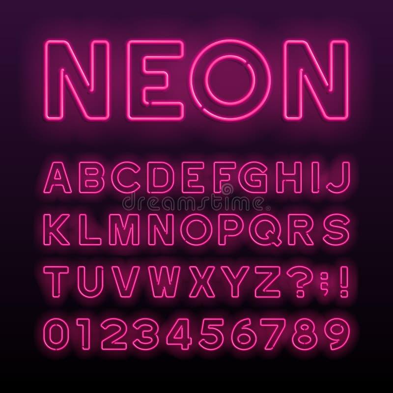 Fonte roxa do alfabeto do tubo de néon Letras, números e símbolos de néon da cor ilustração royalty free