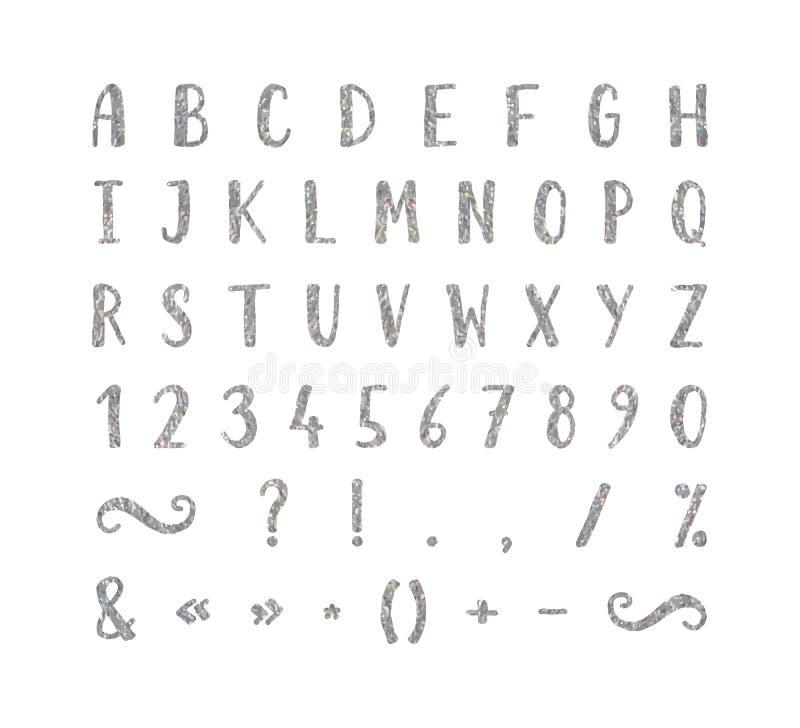 Fonte scritta a mano con i segni di interpunzione illustrazione di stock