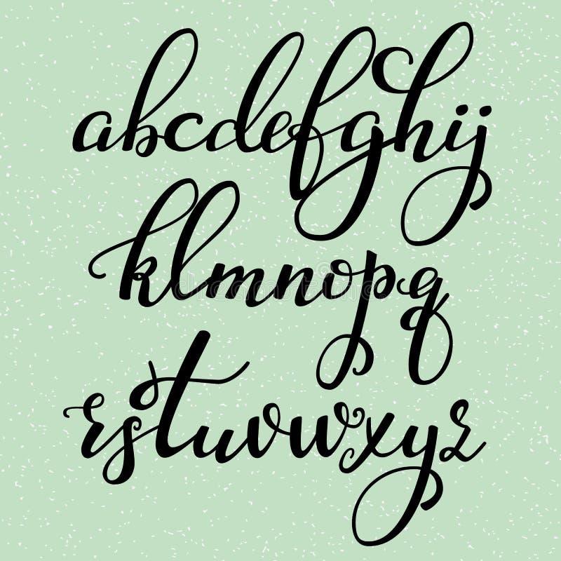 Fonte scritta a mano del corsivo di calligrafia di stile della spazzola illustrazione vettoriale