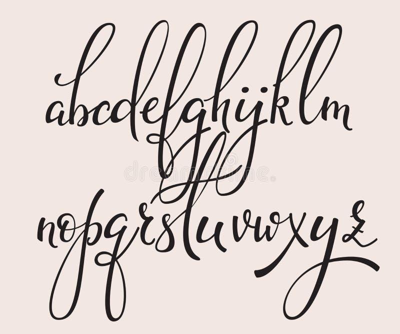 Fonte scritta a mano del corsivo di calligrafia di stile della spazzola illustrazione di stock