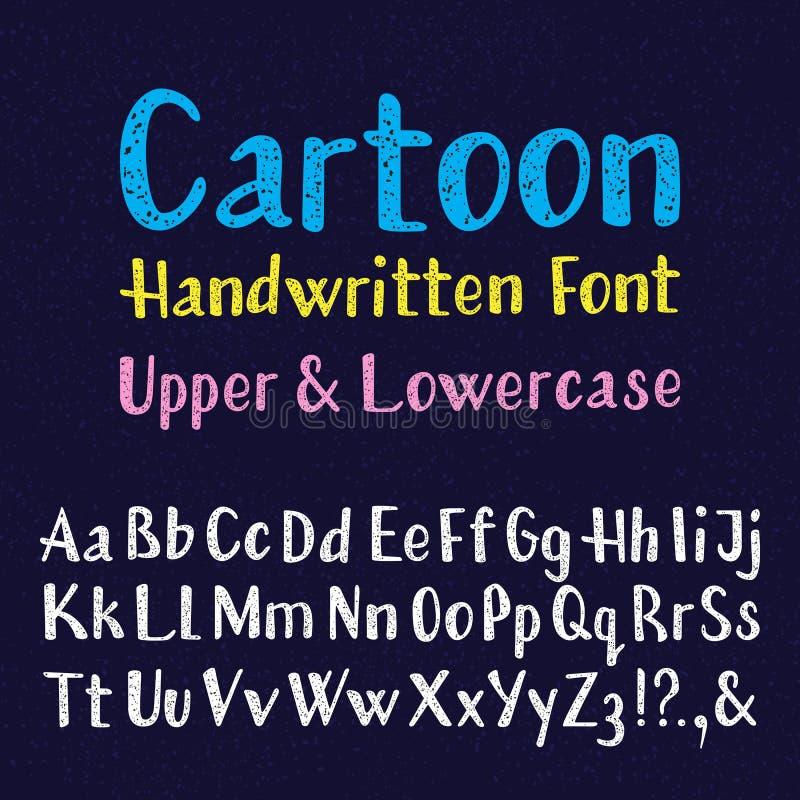 Fonte scritta a mano del fumetto Lettere maiuscole e minuscole Alfabeto inglese isolato di struttura granulare illustrazione di stock
