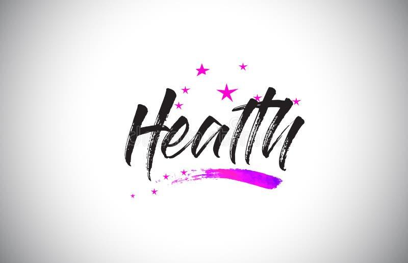Fonte scritta a mano di parola di salute con il vettore vibrante dei coriandoli e di Violet Purple Stars illustrazione vettoriale