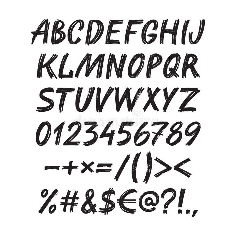 Fonte scritta a mano di schizzo di alfabeto - insieme dell'illustrazione di vettore Lettere calligrafiche dell'evidenziatore di t royalty illustrazione gratis