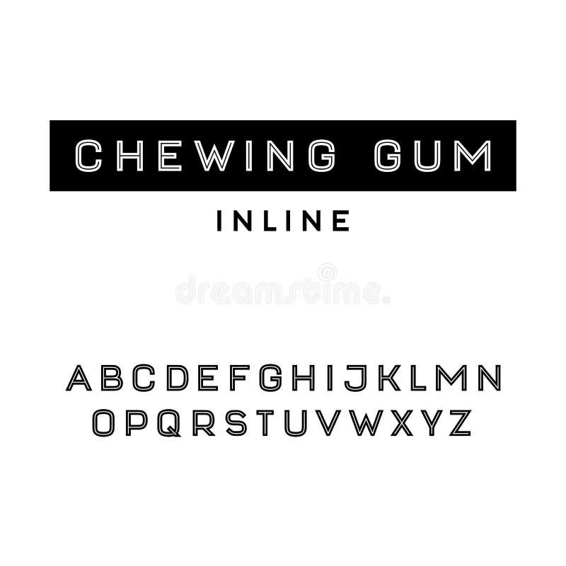 Fonte simples de Sans Serif no uppercase ilustração stock