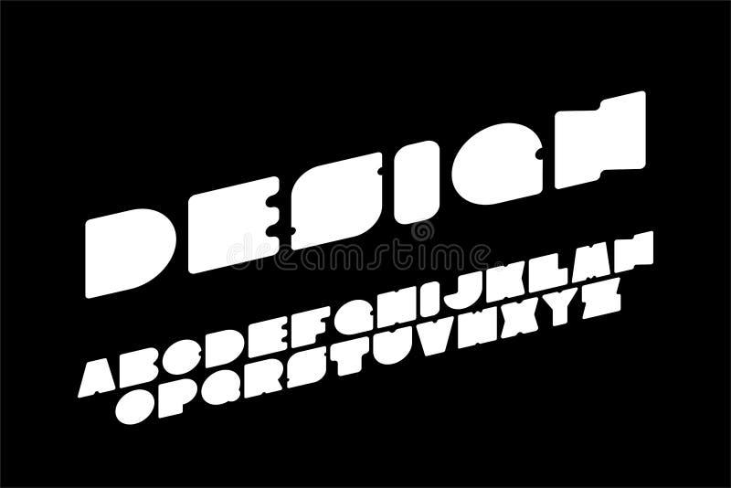 Fonte simples do vetor - projeto futurista moderno Alfabeto inglês criativo, letras de latino corajosas brancas ilustração stock