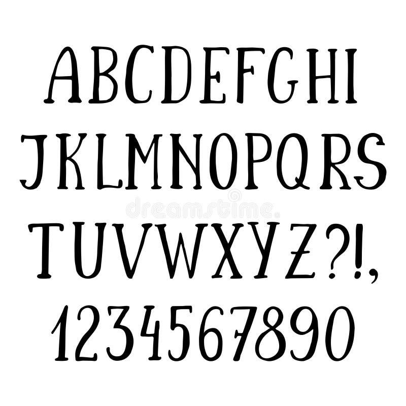 Fonte simples escrita à mão, alfabeto tirado mão do esboço ilustração do vetor