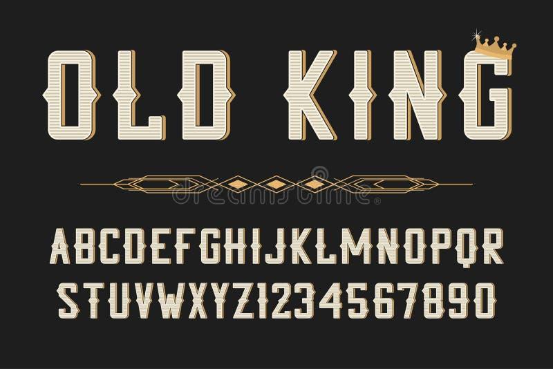 Fonte stilizzata d'annata Retro alfabeto dei caratteri tipografici con grazie, carattere per l'etichetta d'annata, logo, manifest illustrazione vettoriale