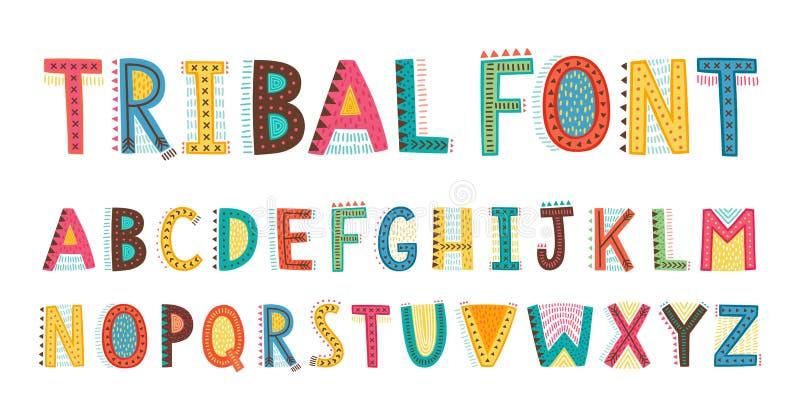 Fonte sveglia tribale di alfabeto Lettere maiuscole di scarabocchio illustrazione di stock
