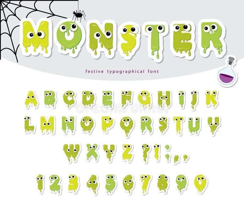 Fonte tagliata carta del mostro di Halloween per i bambini Fumetti gelly esili svegli illustrazione di stock