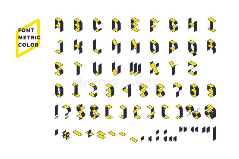 Fonte tecnica moderna dell'esposizione metrica Fissi tutti i lettere e numeri con i caratteri royalty illustrazione gratis