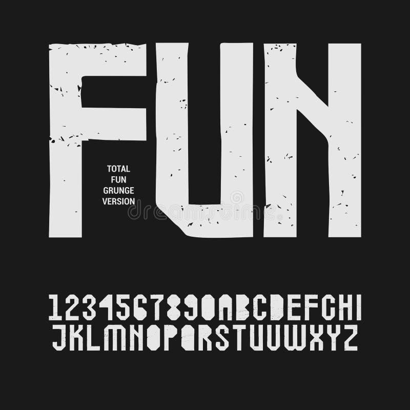 Fonte textured Grunge do estêncil de Sans Serif no uppercase Caráter tipo do selo da exposição ilustração do vetor