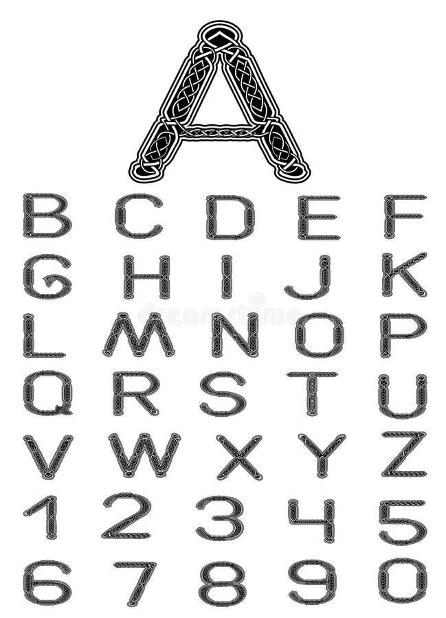 Fonte tipografica celtica illustrazione di stock