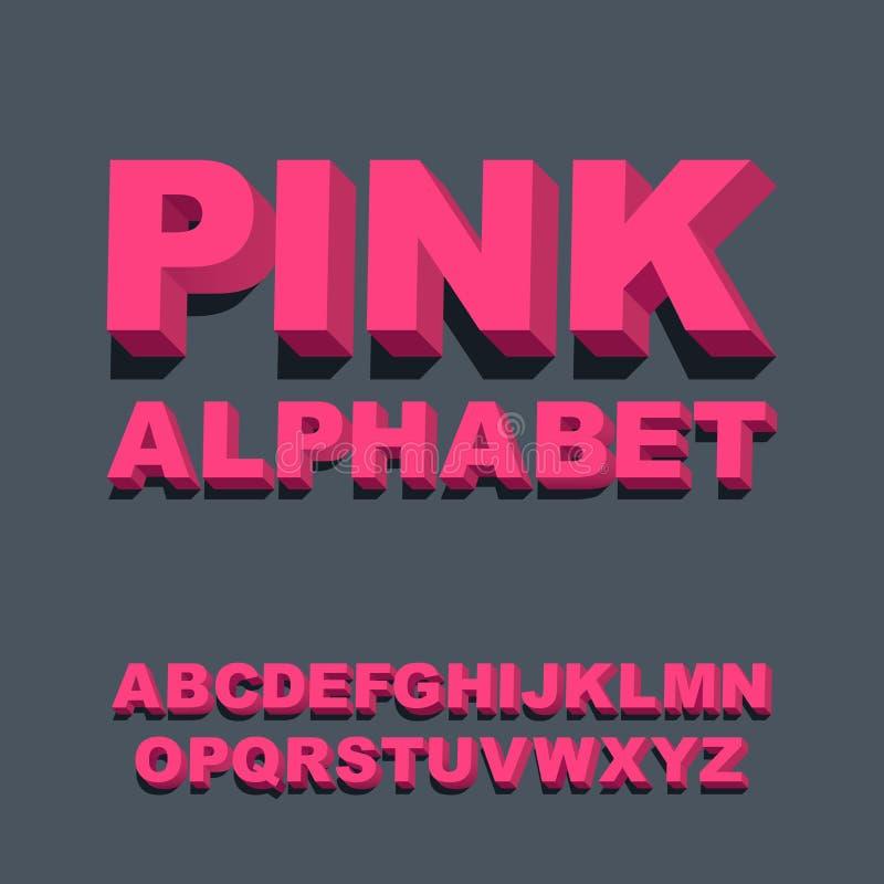 fonte tipografica 3D Lettere rosa tridimensionali di alfabeto Illustrazione di vettore illustrazione di stock
