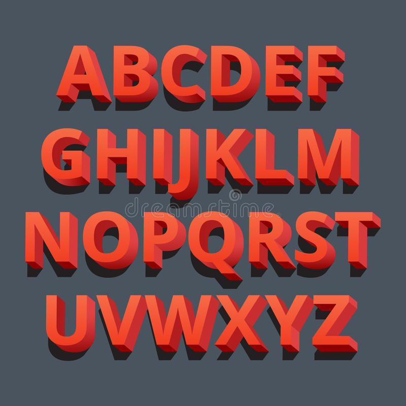fonte tipografica 3D Lettere tridimensionali di alfabeto Illustrazione di vettore illustrazione di stock