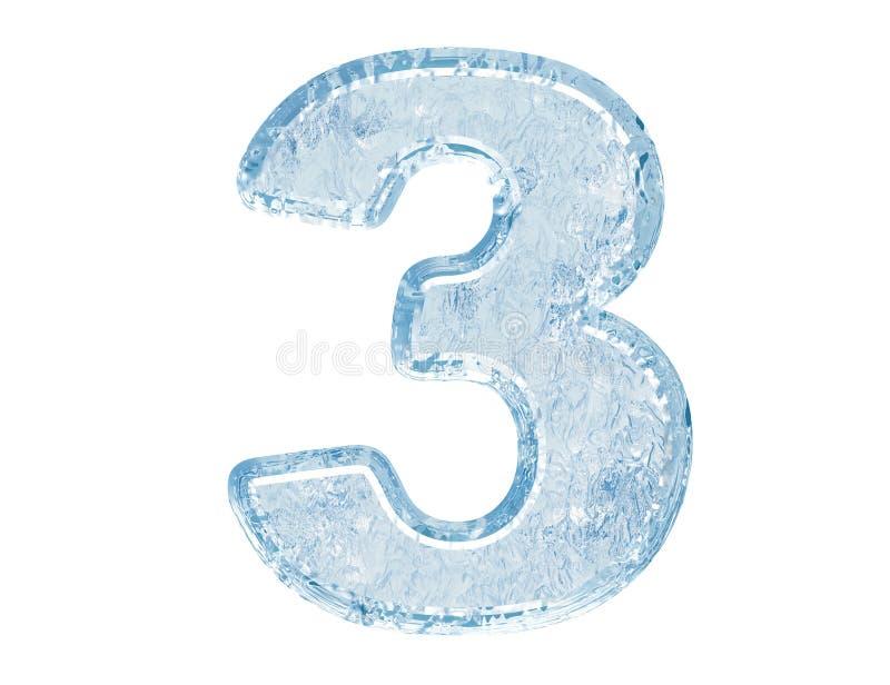 Fonte tipografica del ghiaccio. Numero tre illustrazione vettoriale