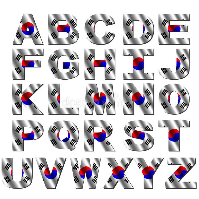 Fonte tipografica della bandierina del Sud Corea illustrazione di stock