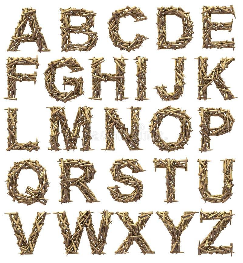 Fonte tipografica delle munizioni illustrazione vettoriale