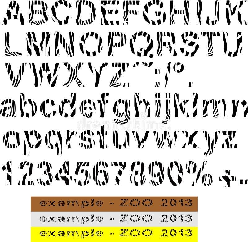 Fonte Tipografica Di ABC Della Zebra Fotografia Stock