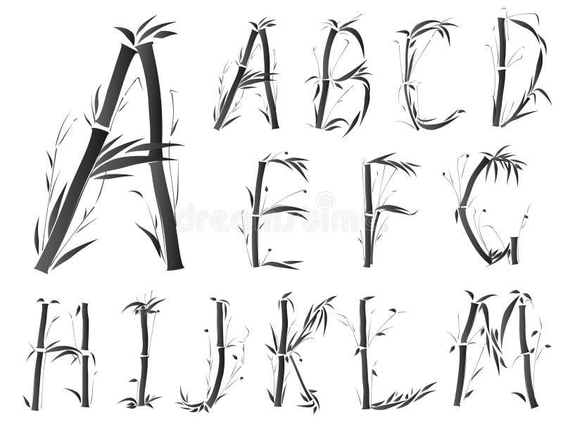 Fonte tipografica di alfabeto nello stile asiatico. illustrazione vettoriale