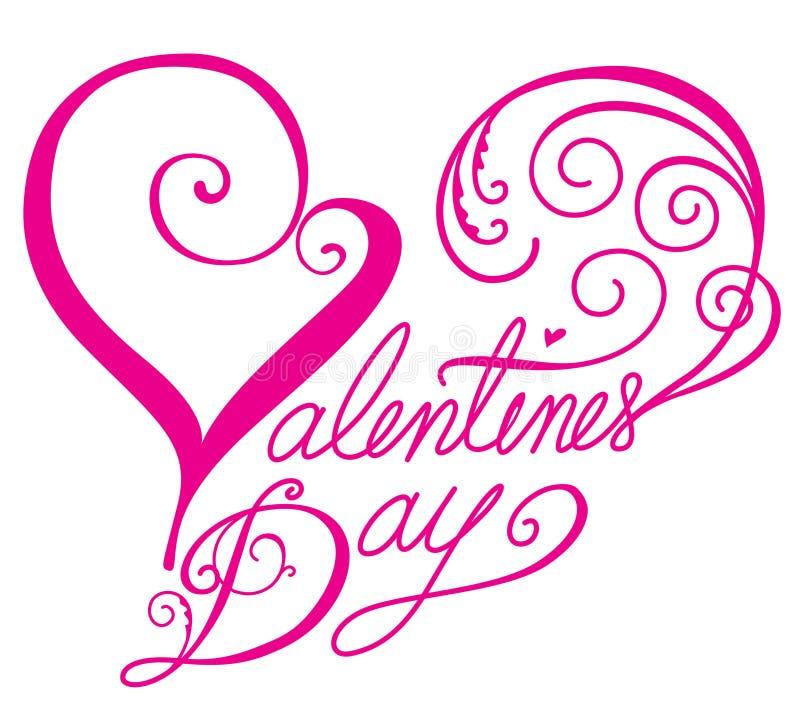 Fonte tipografica di giorno dei biglietti di S. Valentino nella figura del cuore royalty illustrazione gratis