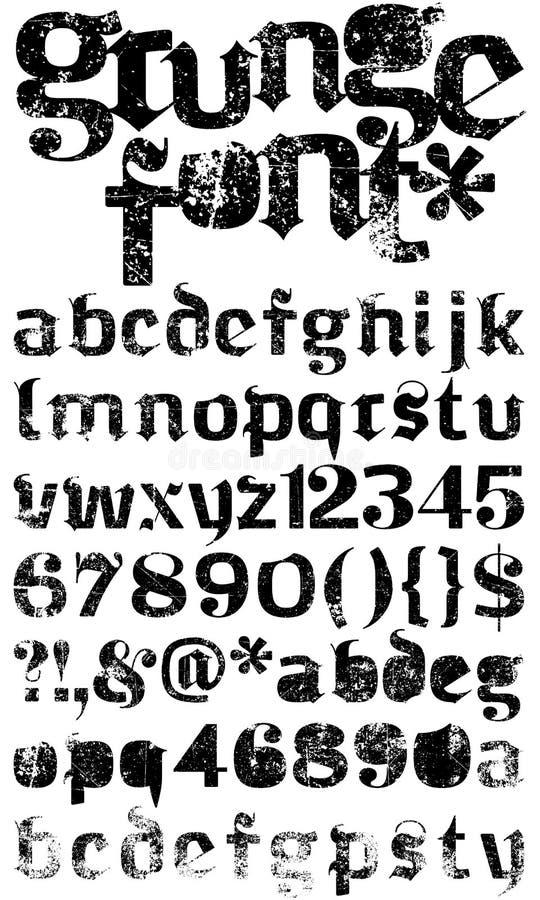 Fonte tipografica di Grunge royalty illustrazione gratis