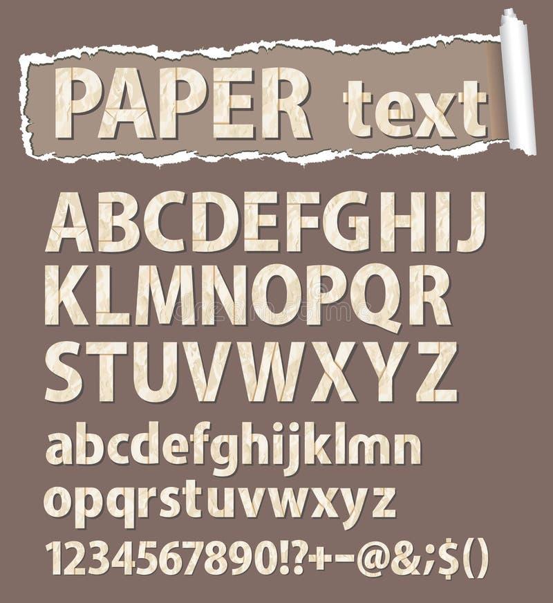 Fonte tipografica di vettore di carta. Lettere, numeri e orthograph illustrazione vettoriale
