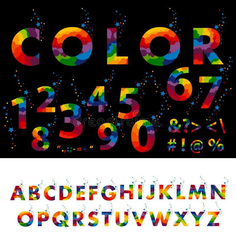 Fonte tipografica divertente dei fumetti lettere variopinte di alfabeto inglese del fumetto illustrazione di stock